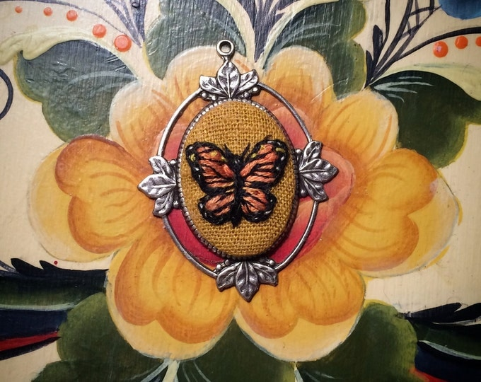 Butterfly - monarch, floral, hand embroidered necklace