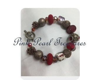 Red Rose beaded bracelet