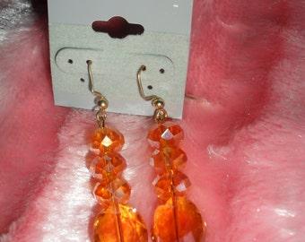 Peach fire glazed bead earrings