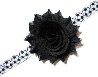 Girls Soccer Headband - Soccer Shabby Flower Headband - Baby Chiffon Sports Flower Headband