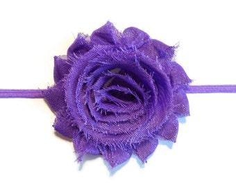 Girls Purple Flower Headband - Purple Shabby Flower Headband - Skinny Flower Headband