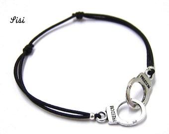 Silver cuff bracelet black cord