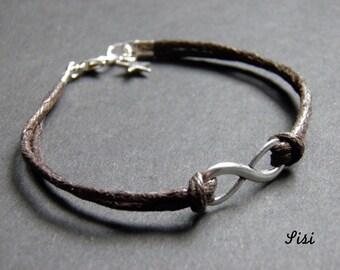 Infinity bracelet brown cotton cords