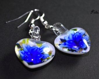 Earrings heart murano blue flower