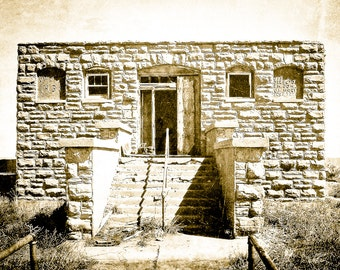 Fine Art Photography, one-room schoolhouse, abandoned schoolhouse, stone schoolhouse, historic building, primitive, rustic, sepia, Fine Art