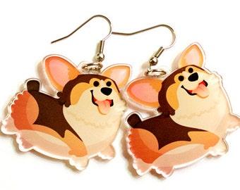 Cute tri color Corgi, Corgi Earrings, welsh corgi, corgi lover, corgi lover gift, corgi giftcorgi butt, dog lovers, dog earrings