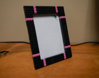 Black and pink 5x7 picture frame made with LEGO® elements