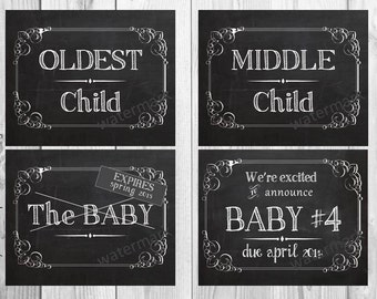 4 We're Expecting Baby #4 + Chalkboard Announcement Printable files- Announcing baby/ pregnancy announcements 8x10