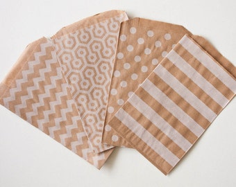 100 Bags - Pick your own combination of White on Brown Medium or Middy Size Paper Food Safe Craft Favor Bags