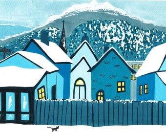 True Blue Winter Illustration Print