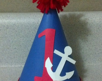 1st first birthday or any age anchor nautical birthday party hat