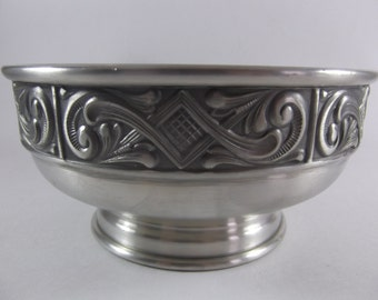 Nordic Pewter Centerpiece Bowl Footed Midcentury Modern