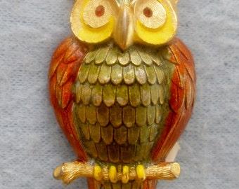 """1970's Designer Signed """"J.J."""" Gold Finish & Enameled Brooch Owl"""