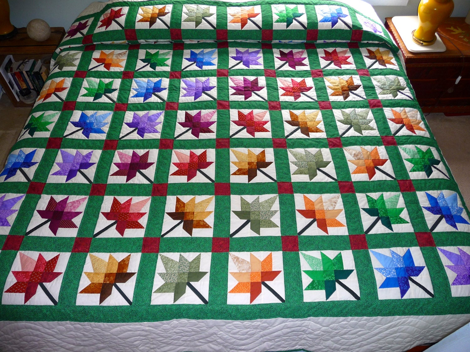 Quilt Pattern For Maple Leaf : Maple Leaf Amish Quilt Autumn Splendor by QuiltsByAmishSpirit