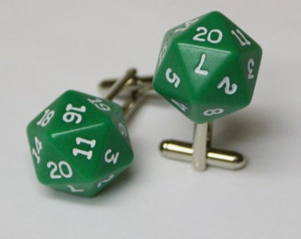 Green 20 Sided Dice Cufflinks d20 Free gift bag