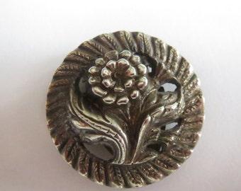 Vintage Sterling Silver  Flower Floral   Brooch Pin