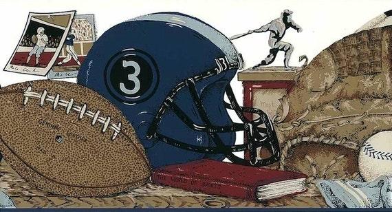 Brown, Blue SPORTS Wallpaper Border Baseball, Football
