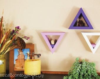 3 Triangle Wall Shelves -- Purple, Lavender, Cream