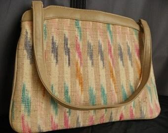 Vintage Almondo Originals Linen and Vinyl Handbag