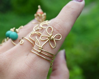 Brass Wire Wrapped Flower Ring, Handmade Boho Jewelry Knuckle Ring