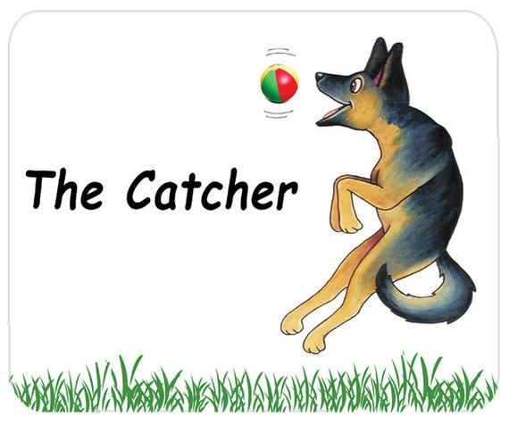 German Shepherd Dog, The Catcher Cartoon, Mouse Mat, Mouse Pad
