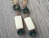 Teal Blue and Cream Dangle Clip On Earrings / Bridal Clipon / Drop Clip Earring / Pierced Nonpierced