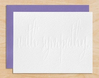 Sympathy Note Card - Blind Embossed, Modern Calligraphy, With Sympathy, Single Card or Boxed Set of 6