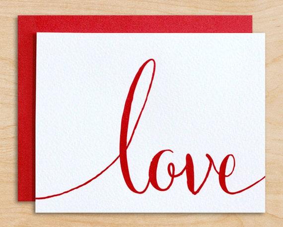 Modern calligraphy valentine s card