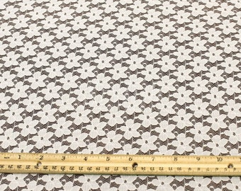 Stretch Lace Fabric Tan by the yard - Kate Floral Pattern  - 1 Yard style 352