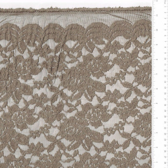 Scalloped Lace Fabric by The Yard Truffle Scalloped Lace Fabric