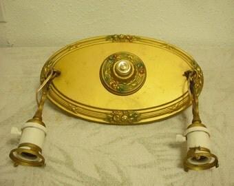 1920's Painted Brass Light Fixture
