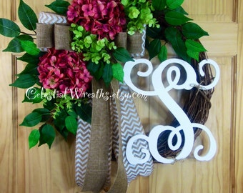 Easter wreath - spring wreath - mauve hydrangea wreath - mothers day - summer wreath