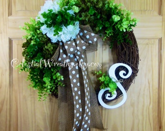 spring wreath - green hydrangea wreath - easter wreath - summer wreath - mothers day - personalized wreath