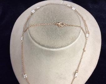 Vintage Long Faux Pearl Necklace