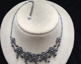 Vintage Black Rhinestone Collar Necklace