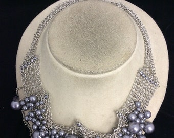 Vintage Faux Gray Pearl Necklace