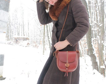READY TO SHIP. leather purse. tall tree in cherry wood red vegetable tanned leather. small purse. under the tree. ithaca, ny.