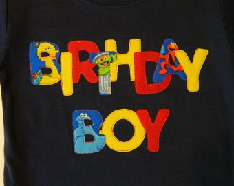 Sesame Street Birthday tshirt..Available in boys or girls sizes 12 months to 10 youth..red,gray,hot pink,navy,royal blue,white,black,aqua