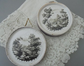 Antique porcelain plaque x 2