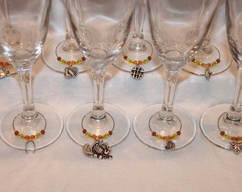 Thanksgiving Wine Charms Set of 8 Thanksgiving Charms Pumpkin Charms Fall Charms