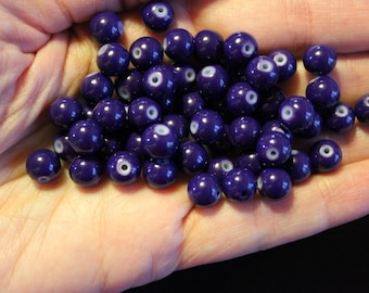 50 purple glass beads, baking painted round, 8 mm, 0.8 mm hole, round and smooth
