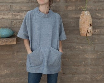 Artist smock / work shirt / short sleeved tunic in denim or canvas with pockets