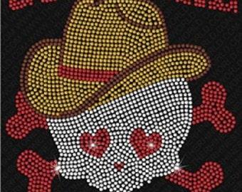 Cowgirl to the Bone Rhinestone Iron On T Shirt Design   Z4SX