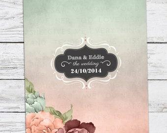 Mint-Peach Watercolor Floral Wedding Invitation Printable DIY