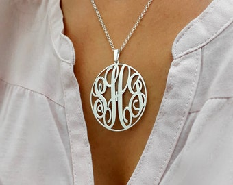 "Statement Circle Monogram necklace - 1.5"" inch Personalized Monogram - 925 Sterling Silver"