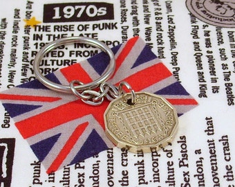 1964 3d 12 Sided Threepence English Coin Keyring Key Chain Fob Queen Elizabeth II