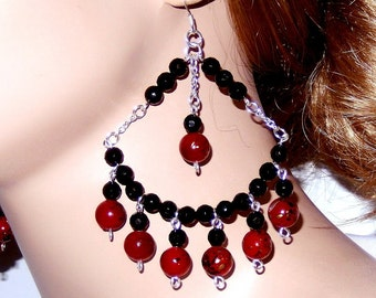 Large and lightweight red and black beaded chandelier bauble earrings, big diva earrings, holiday gift for her