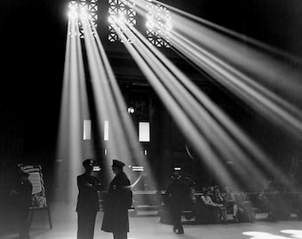 1943 Chicago Union Station- Waiting Room- Streams of Light   Photo Print