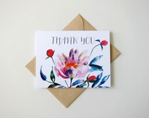 Thank You Card - Wedding Stationary - Floral Watercolor Card,  A2 Size Card With Euro Flap Envelopes