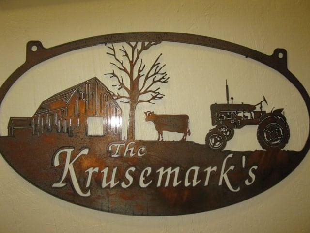 3ft Personalized Metal Sign With Barn And Cow And Tractor